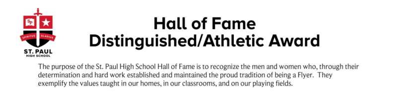 St. Paul High School Hall of Fame Distinguished / Athletic Award