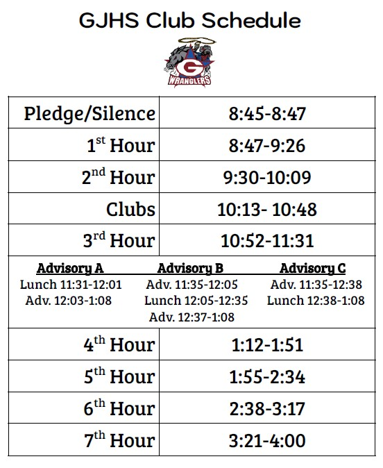 GJHS Club Schedule