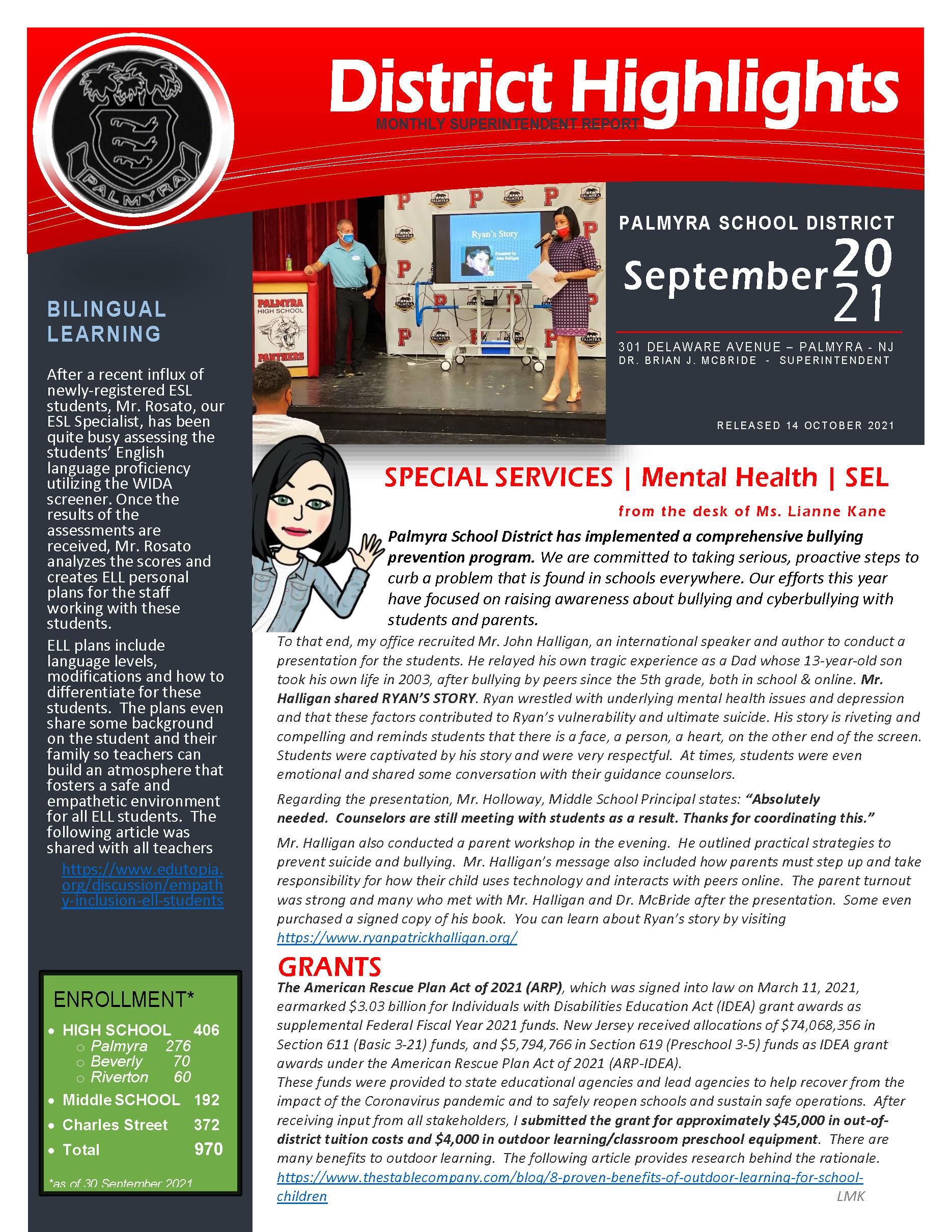 Superintendent's Newsletter September cover