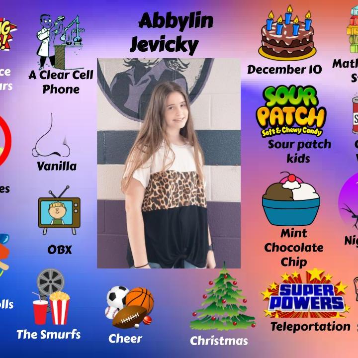 Abbylin Jevicky  - Jr.High Student spotlight of September