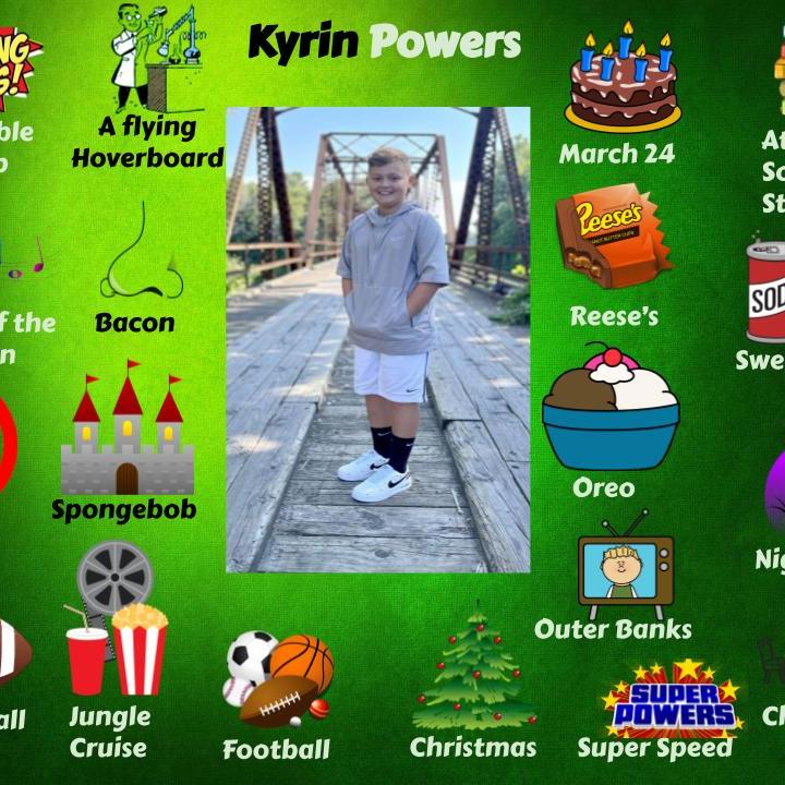 Kyrin Powers - Jr.High October Student spotlight .