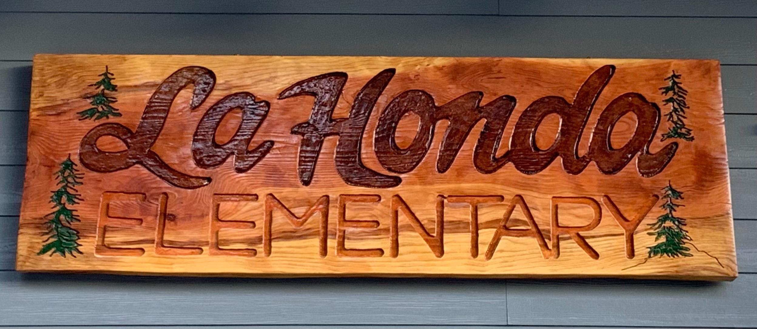 La Honda Elementary Carved Wooden Sign