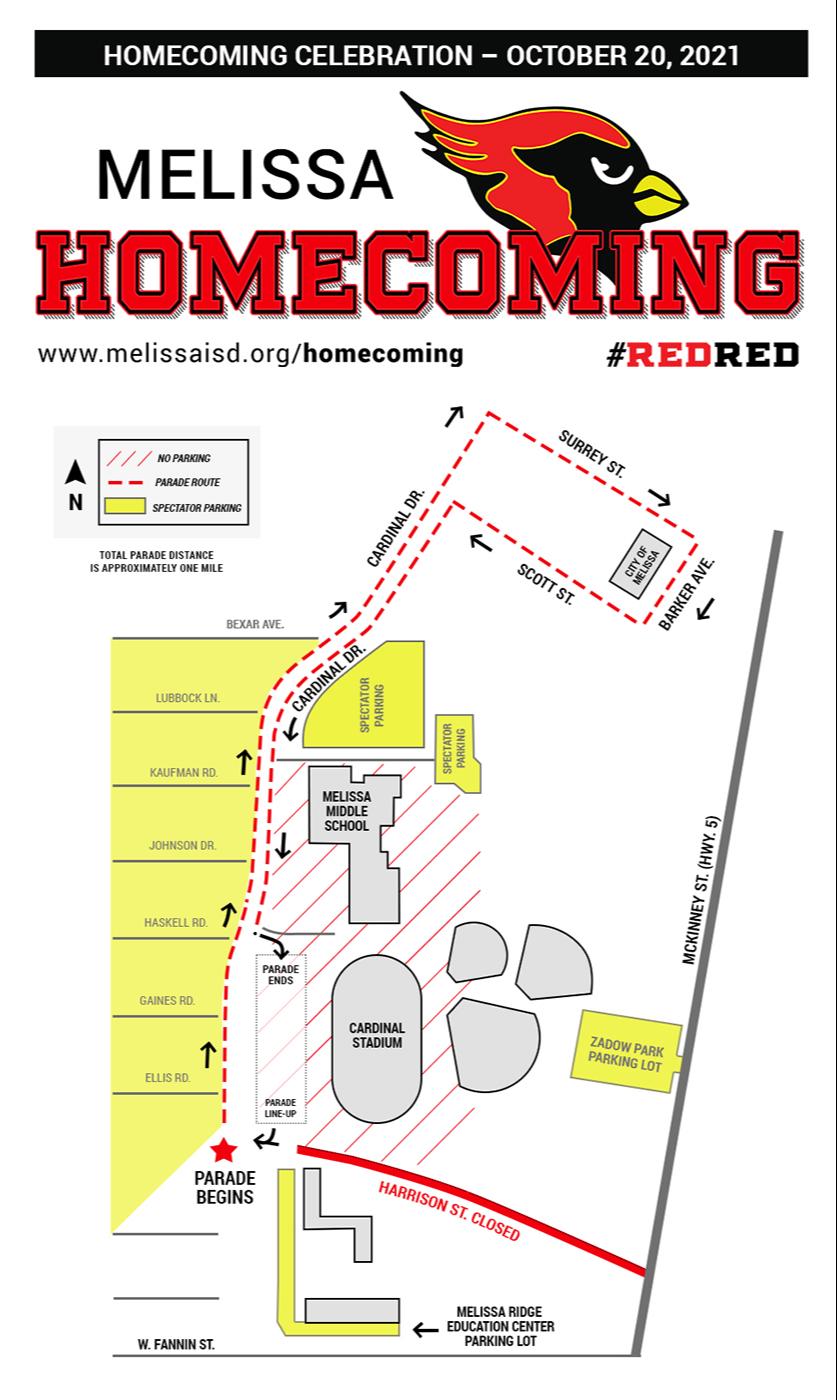 Homecoming Celebration Parade & Parking Map