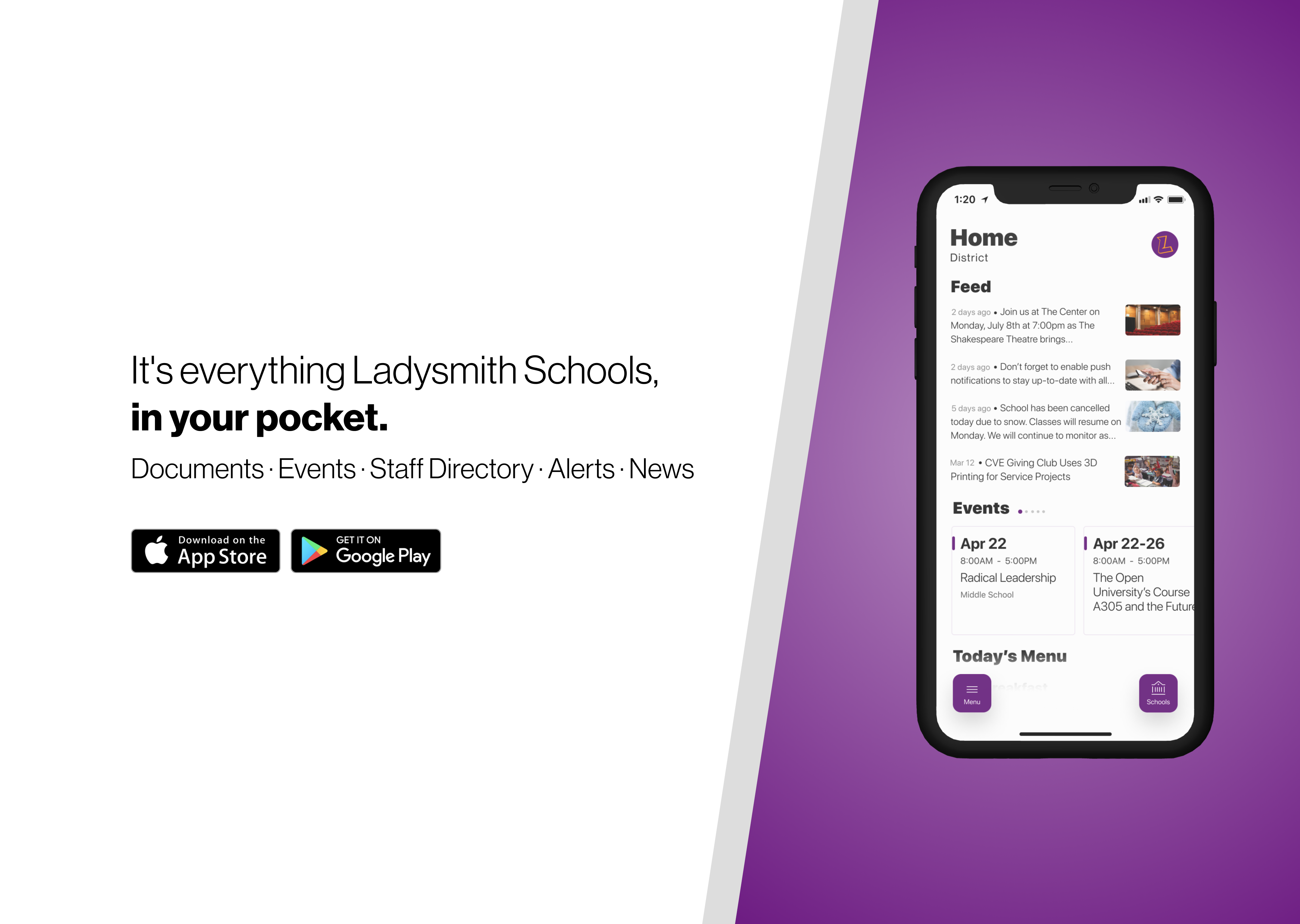 download the school mobile app in both Googly Play and the Apple store