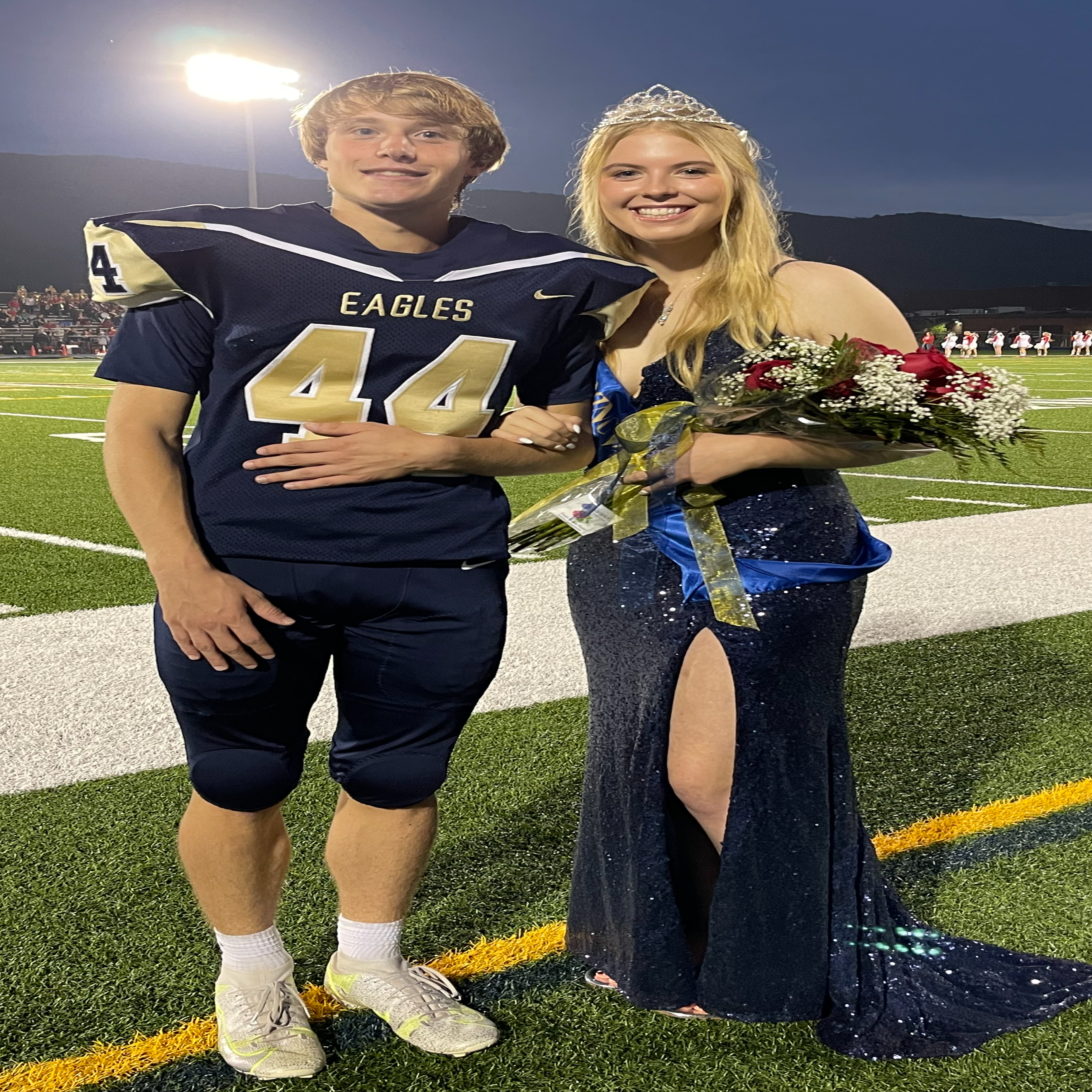 Claire Andrews and her escort Carter Stere- our Homecoming Queen