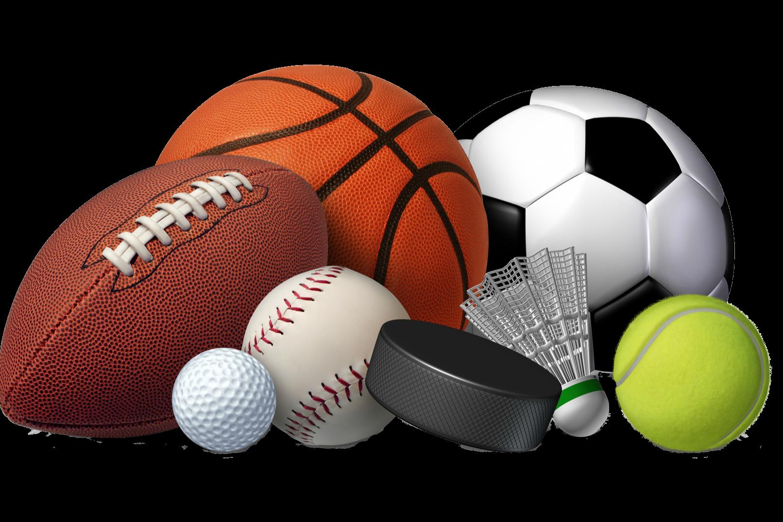 Football, Baseball, Basketball, Hockey Puck, Golf Ball, Badminton, Tennis Ball, Soccer ball